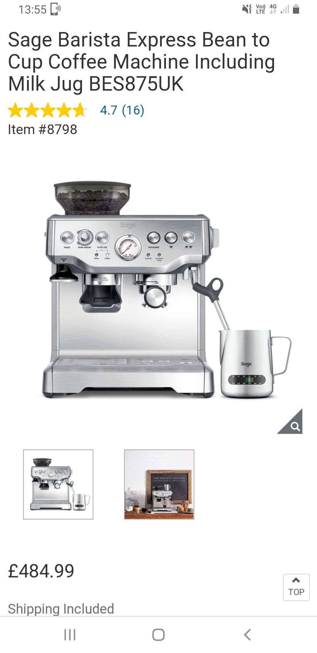 Sage Barista Express Coffee Machine - £479.99 @ Costco (Gateshead)