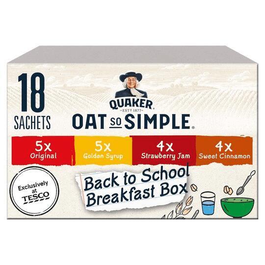 Quaker Oat So Simple 'Back to school' Variety 18 sachet (579g) £2 (Clubcard Price) @ Tesco