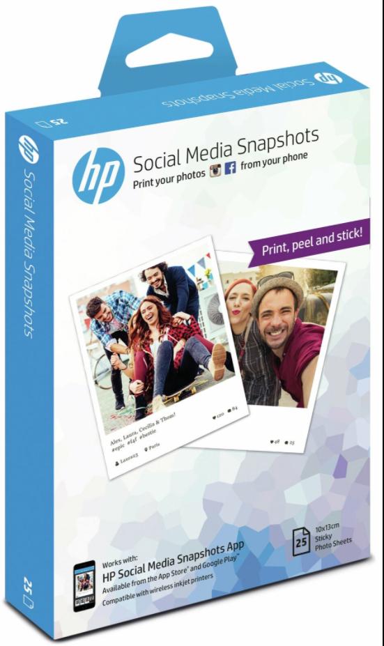 HP Social Media Snapshots Photo Sticker Paper 10x13cm - 25 Sheets, £2.99 delivered @eBay Argos