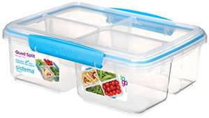 Sistema To Go Quad Split Food Storage Container, Clear with Coloured Clips, 1.7 L £3.89 (Prime) / £8.38 (non Prime) at Amazon