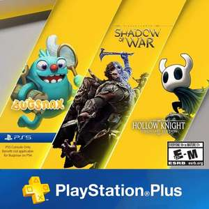 PS Plus November Games : Middle-earth: Shadow of War / Hollow Knight: Voidheart Edition, Bugsnax for PS5 Owners @ Playstation Network