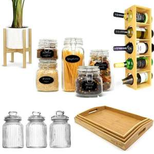 Roov Lightning Deals - EG: Bamboo Serving Tray Set of 3 £10.14 / Bamboo Wall Mounted Wine Rack £9.24 Delivered + More in Description