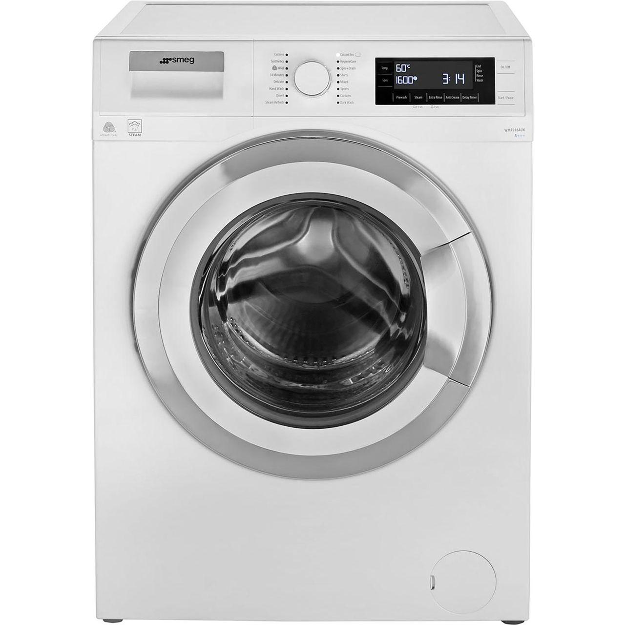 Smeg WMF916AUK 9Kg Washing Machine with 1600 rpm - White / Chrome - A+++ Rated £399 @ AO