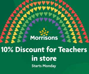 From the 2nd of November Teachers/Other School Staff can get a 10% discount at Morrisons