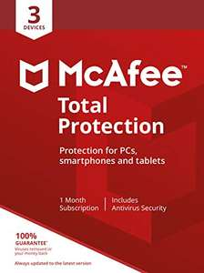 McAfee Total Protection - 3 Devices | PC/Mac/Android/Smartphones | Activation code by post - £12.49 (+£4.49 Non-Prime) @ Amazon