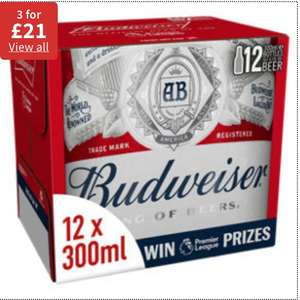 Mix and match - Beer & Cider - Budweiser, Amstel, Heineken, Carling, Sol, Strongbow plus more 3 for £21 @ Asda