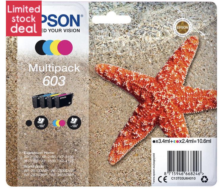 EPSON 603 Starfish Cyan, Magenta, Yellow & Black Ink Cartridges - Multipack £39.99 @ Currys PC World