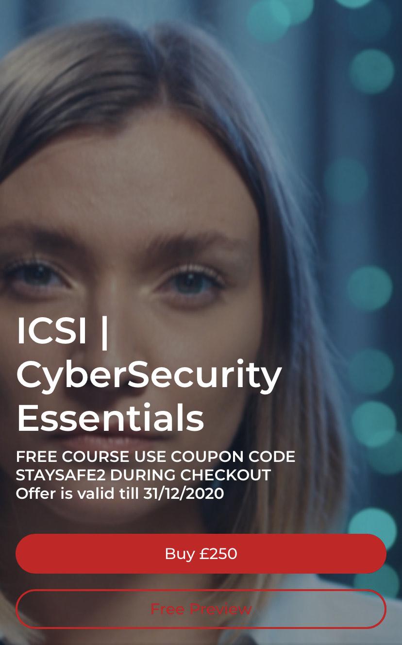 Free Icsi cyber security essentials training using code: staysafe2