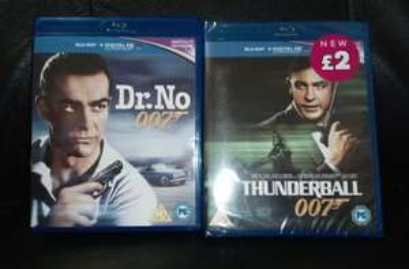 Dr. No & Thunderball James Bond Blu-Ray + Digital Copies - Sean Connery £2 instore @ Poundland Barnsley Town Centre