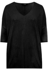 Early Sale (£3.99 Delivery) E.G Black V-Neck Ribbed Top £6.99 @ Yours Clothing