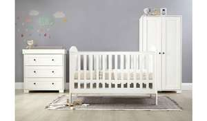 Mamas & Papas Harrow 3-piece white nursery furniture set (cot bed, wardrobe, and chest of drawers) for £506.94 delivered @ Argos