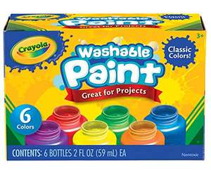 Crayola Washable Kids Paint (pack of six 59ml pots) for £4.99 Prime (+£4.49 non Prime) @ Amazon
