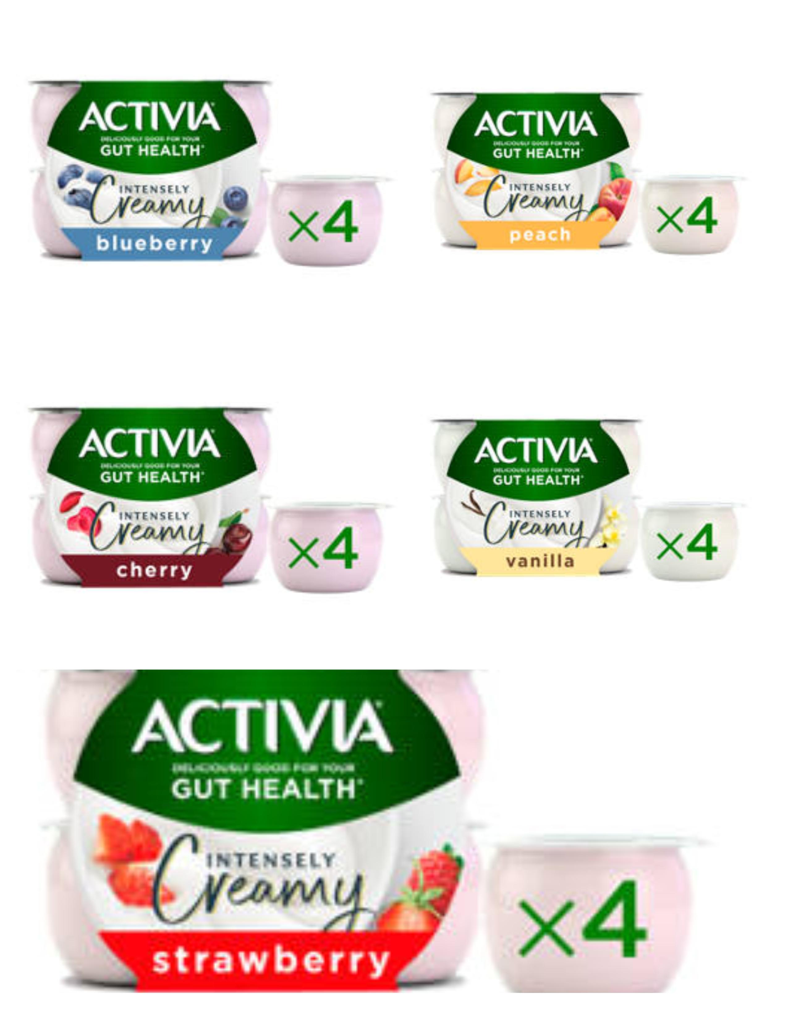 Activia yogurt 4 x 110g - Strawberry / Peach / Cherry / Vanilla / Blueberry Flavour - £1.00 @ Asda