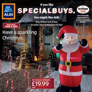 6ft Inflatable Santa, Snowman or Tree - Pre-Order Online From 8th Nov / Instore From 12th Nov - £19.99 / £22.94 Delivered @ Aldi