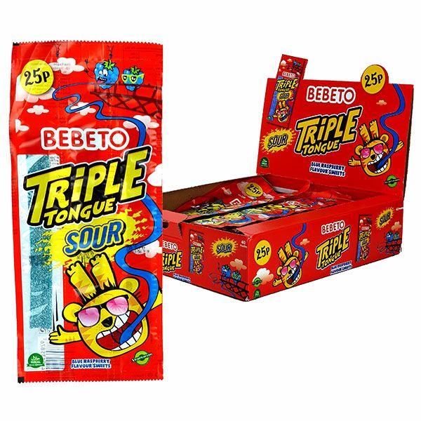 40 x Bebeto Blue Raspberry Triple Tongue Sour Sweets / Strawberry (others see below) £4.00 @ Yankee Bundles