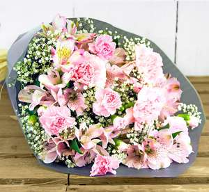 Standard Bunch Pretty & Pink Bouquet + Free Card Vase £16.00 Delivered @ 123flowers.co.uk