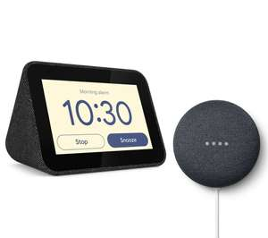 Lenovo Smart Clock with Google Assistant & Google Nest Mini 2nd gen (Chalk/Charcoal) £54.99 @ Currys
