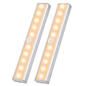 OUSFOT Cupboard Light Motion Sensor, 10-LED Closet Lights Wireless USB Rechargeable 2 pack £15.73 + £4.49 NP @ ousfot Fulfilled by Amazon