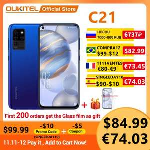 OUKITEL C21 Smartphone Helio P60 Octa Core 4GB/64GB with 16MP Quad Camera for £71.40 using codes @ AliExpress / OUKITEL Official Store