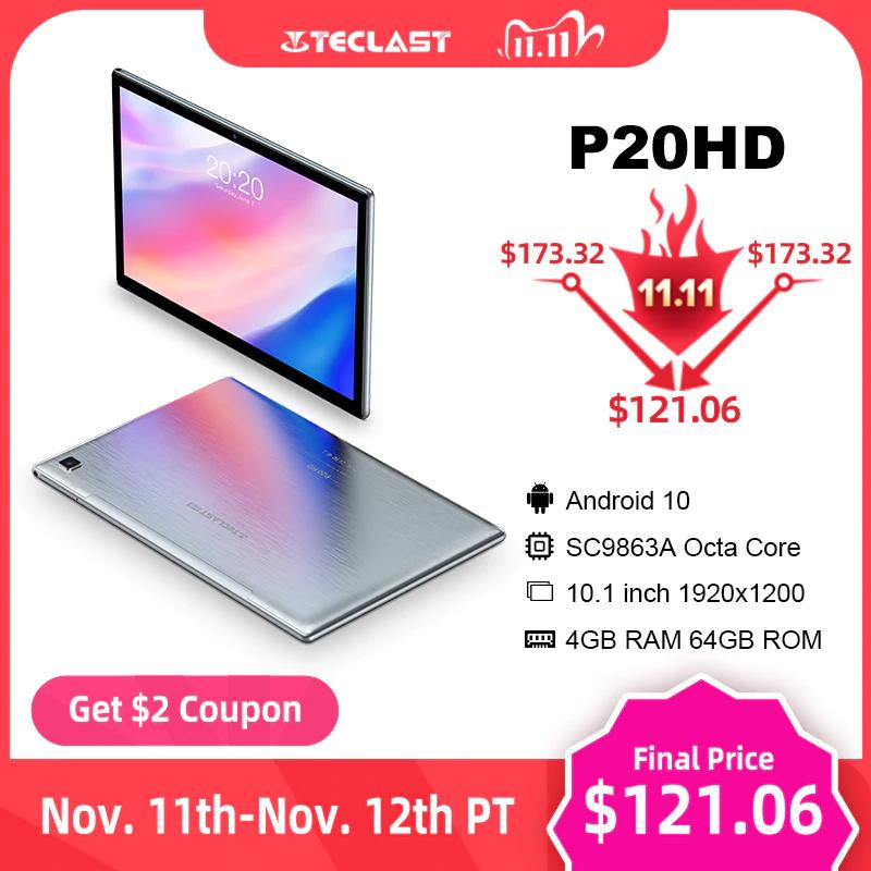 """Teclast P20HD 10.1"""" Android 10 Tablet 1920x1200 SC9863A Octa Core 4GB RAM 64GB ROM - £83.75 @ AliExpress Teclast Direct Store"""