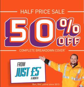 Half price RAC cover (new, single personal based cover) from £5 per month (12 month contract - £60)