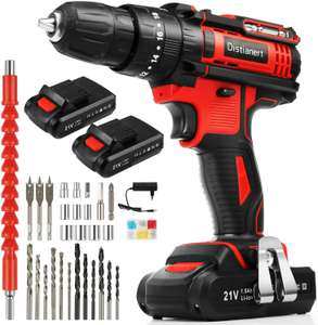 Distianert Cordless Drill Driver 21V, 80Pcs Power Drill Set with 2 Batteries £47.99 - Sold by YDWEU and Fulfilled by Amazon.