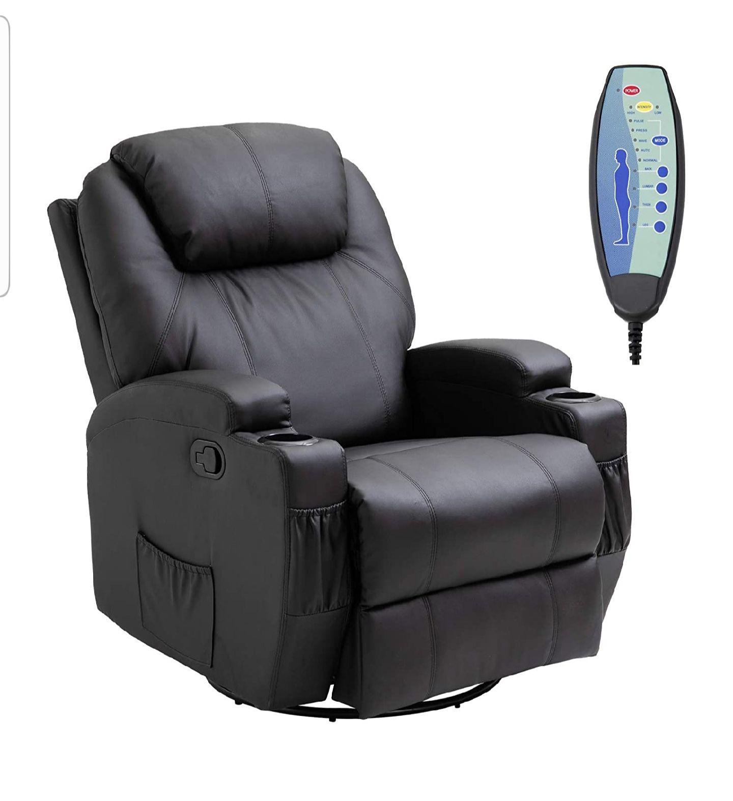 HOMCOM Luxury Leather Recliner Sofa Chair Armchair Cinema Massage Chair Swivel Heated Nursing Gaming Chair sold by MHSTAR £285.99 @Amazon