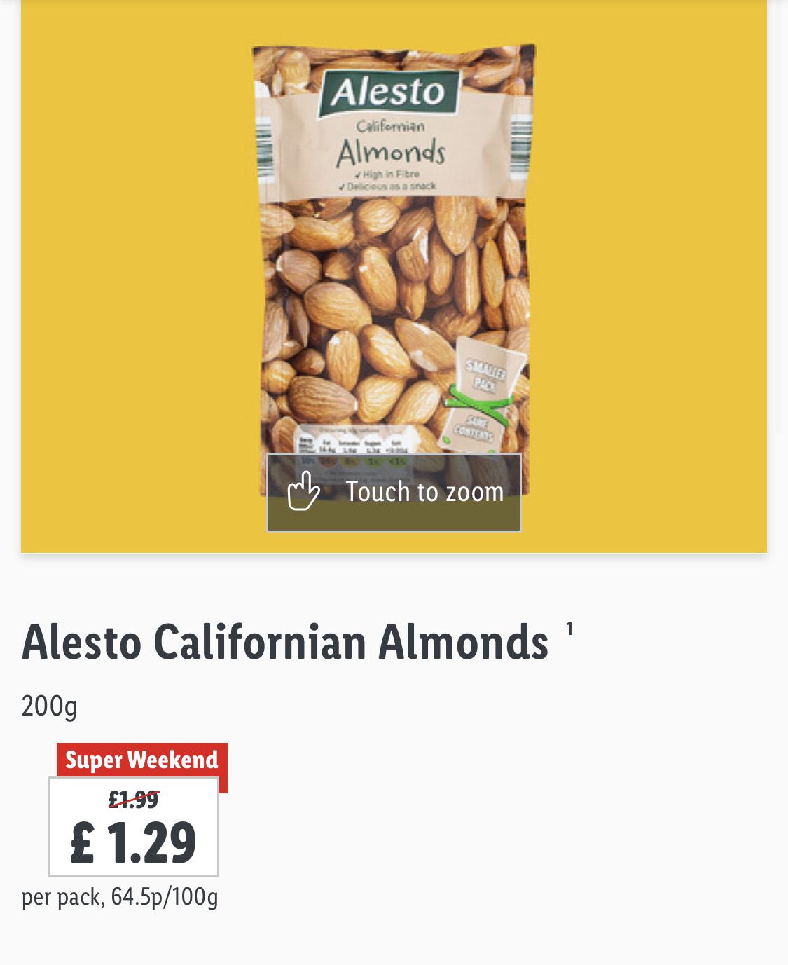Alesto Californian Almonds 200g - £1.29 @ LIDL