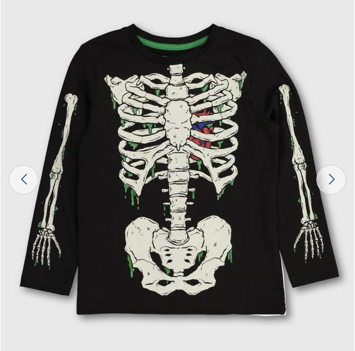 Tu clothing Halloween Skeleton Glow In The Dark Top from £3.50 @ Argos