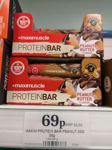 Maximuscle peanut butter flavour protein bar instore at Home Bargains (Hoylake)