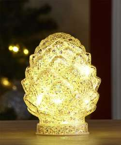 Glass LED Glitter Pinecone Christmas Decoration, Ornament Extra 10% off Plus Free Delivery with code Now £7.65 From Damart