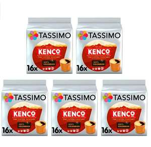 Tassimo Kenco Coffee Pods various varieties (Pack of 5, Total 80 pods, 80 servings) from £14.79 (+£4.49 Non Prime) @ Amazon