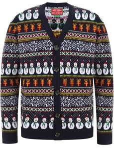 Snowman Cardi Wallpaper Print Novelty Christmas Cardigan In Ink £19.99 (£1.99 Delivery) @ Tokyo Laundry Shop