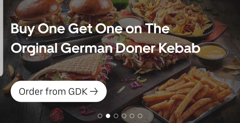German Doner Kebab Buy one get one free on selected items @ Uber Eats