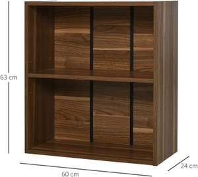 HOMCOM Wooden 2 Tier Storage Unit Shelf Bookshelf Bookcase Cupboard Cabinet Walnut £14.49 (Prime) + £4.49 (non Prime) at Amazon