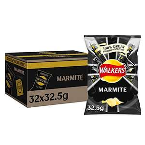 Walkers Marmite crisps, box of 32 x 32.5gms bags for £10.40 (+£4.49 Non-Prime / £8.85 with Subscribe n Save) @ Amazon
