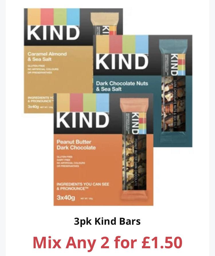 3pk Kind Bars 2 for £1.50 @ Farmfoods