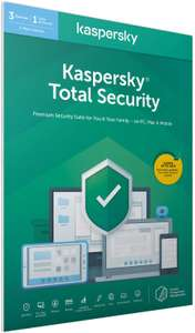 Kaspersky Total Security 2020 various packages starting from £12.99 for 3 Devices 1 year @ Amazon UK