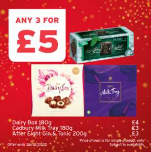 One Stop - Any Three For £5 e.g Milk tray 180g, After eight gin & tonic 200g, Black magic, Dairy box 180g