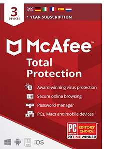 McAfee Total Protection 2020 3 Device 1 Year Antivirus via email £8.49 Amazon
