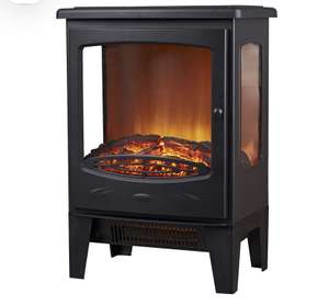Focal Point Malmo Black Cast iron effect Electric Stove £55 B&Q Click + Collect