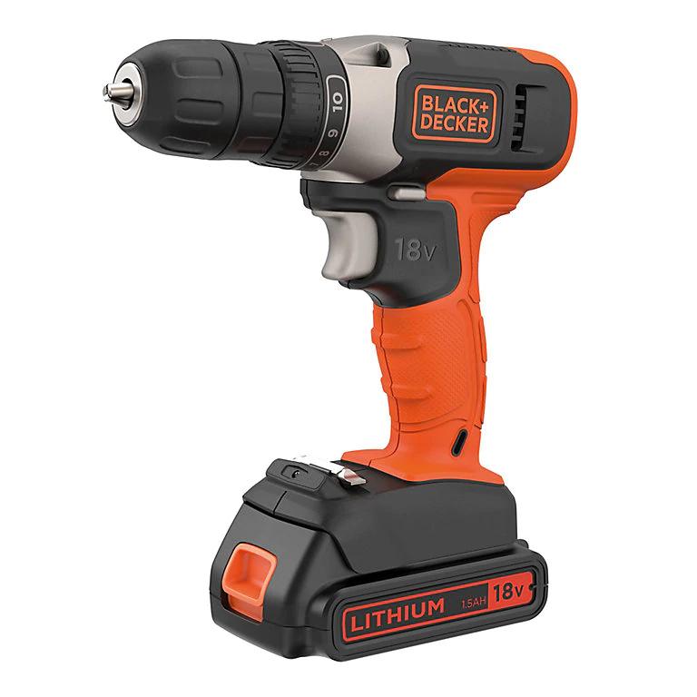 Black & Decker 18V 1.5Ah Li-ion Cordless Drill driver 1 battery BCD001C1 £30 @ B&Q