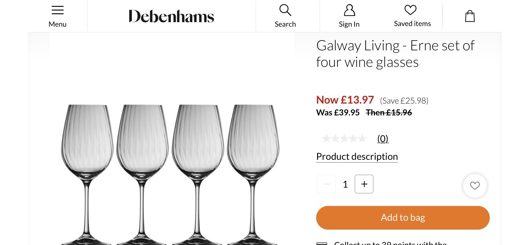 Debenhams - Galway Living - Erme Set of 4 Wine Glasses £17.46 delivered @ Debenhams