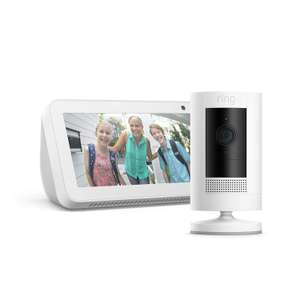 Ring Stick Up Cam Battery, White with Echo Show 5, White - £74 @ Amazon