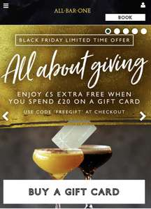 £5 extra free when you spend £20 on a gift card @ All Bar One