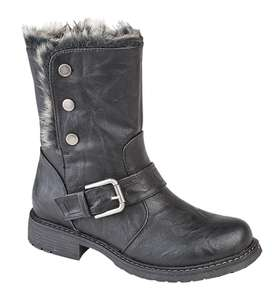 Women's Black Leather Ankle Boots Ladies Fur Lined Biker Fold Down Warm Snow Boot - £28.99 @ Shoe Factory Outlet