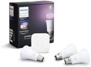Philips Hue White and Colour Ambiance Starter Kit: Smart Bulb 3x Pack LED [B22 Bayonet Cap] Includes, Bridge £89.99 at Amazon