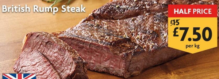 British Rump Steak Half Price £7.50 per Kg @ Morrisons