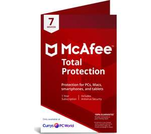 McAfee Total Protection 2019 - 1 year for 7 devices £5.60 at Currys PC World