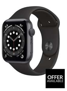 Apple Watch Series 6 (GPS), 44mm Space Grey Aluminium Case With Black Sport Band £409 (£368.10 with account credit) at Very